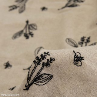 【cotton linen】botanical lace×cotton linen sheeting|スズラン|ブラック|