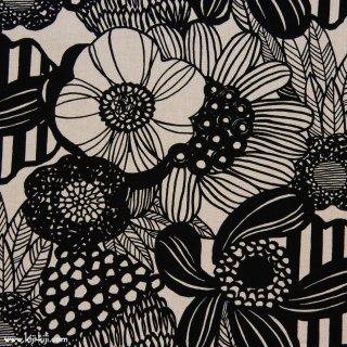 【cotton linen】modern nordic flower|コットンリネンキャンバス|ブラック|