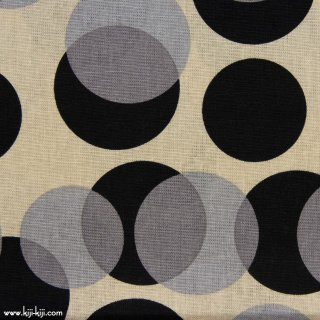 【cotton linen】shadow dots×cotton linen canvas|ドット柄|ベージュ×ブラック|