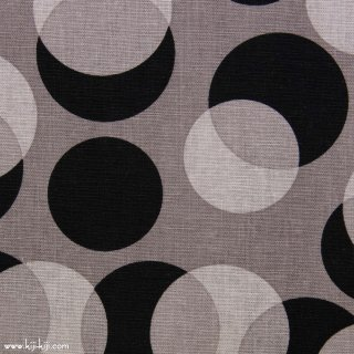 【cotton linen】shadow dots×cotton linen canvas|ドット柄|ブラック×グレー|