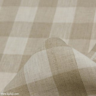 【sale】【linen】ブロックチェックのナチュラルリネン|赤ミミ|ナチュラル×ホワイト|<img class='new_mark_img2' src='https://img.shop-pro.jp/img/new/icons20.gif' style='border:none;display:inline;margin:0px;padding:0px;width:auto;' />