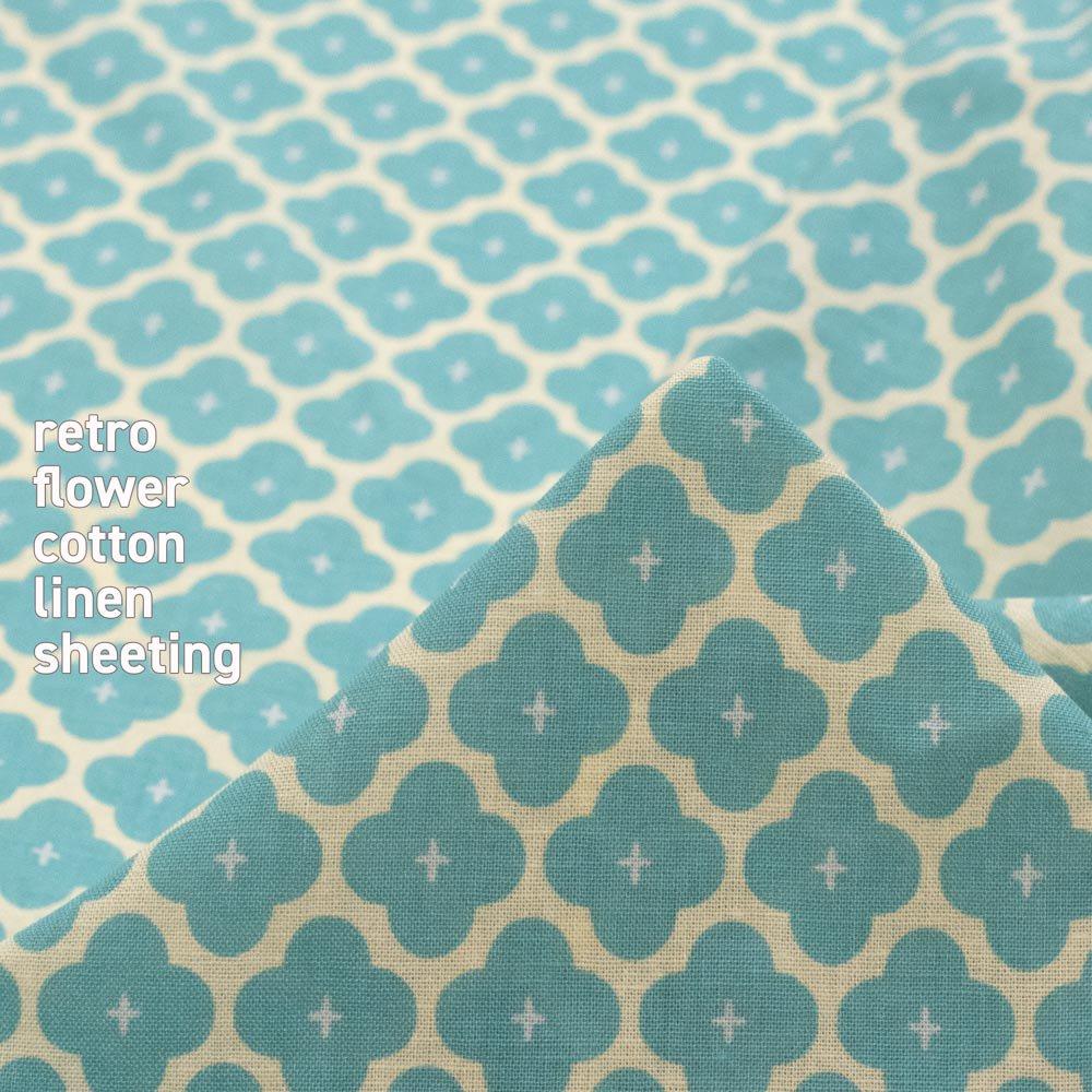 【cotton linen】retro flower-レトロフラワー|コットンリネンシーチング|ミズイロ|
