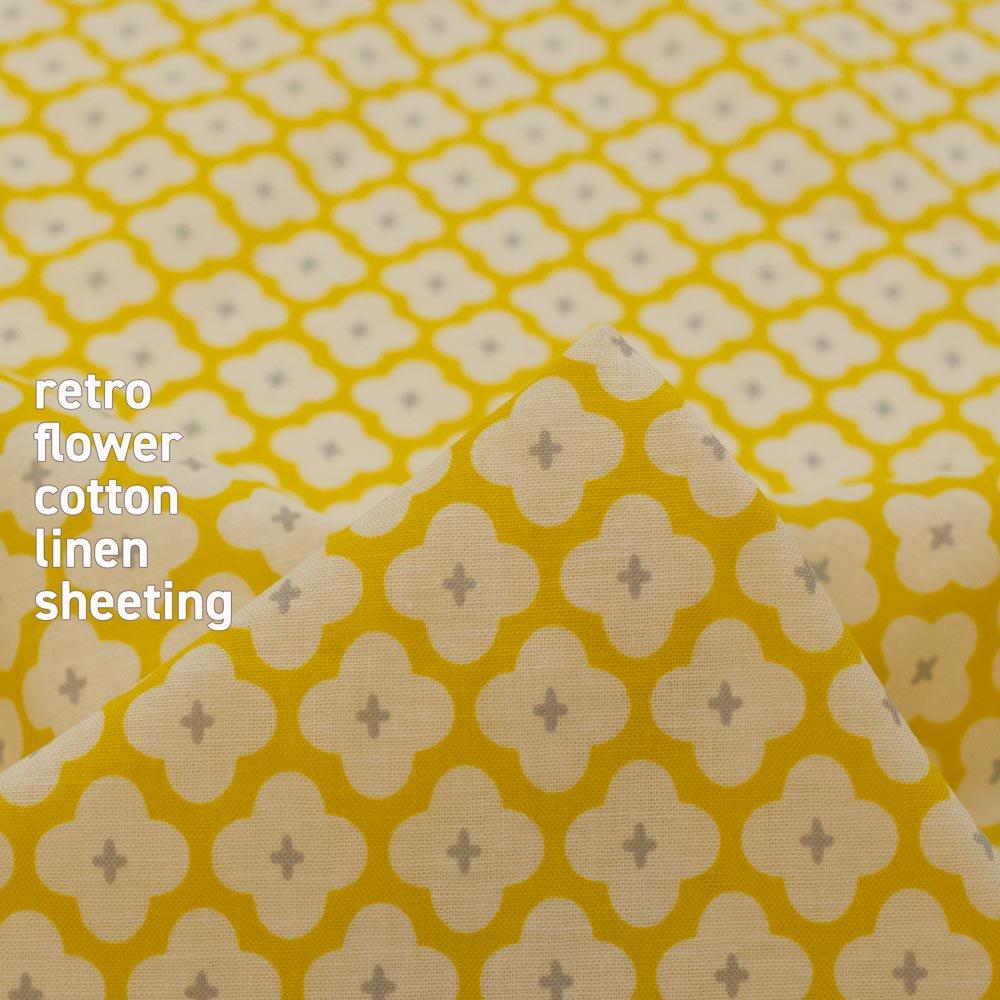 【cotton linen】retro flower-レトロフラワー|コットンリネンシーチング|マスタード|