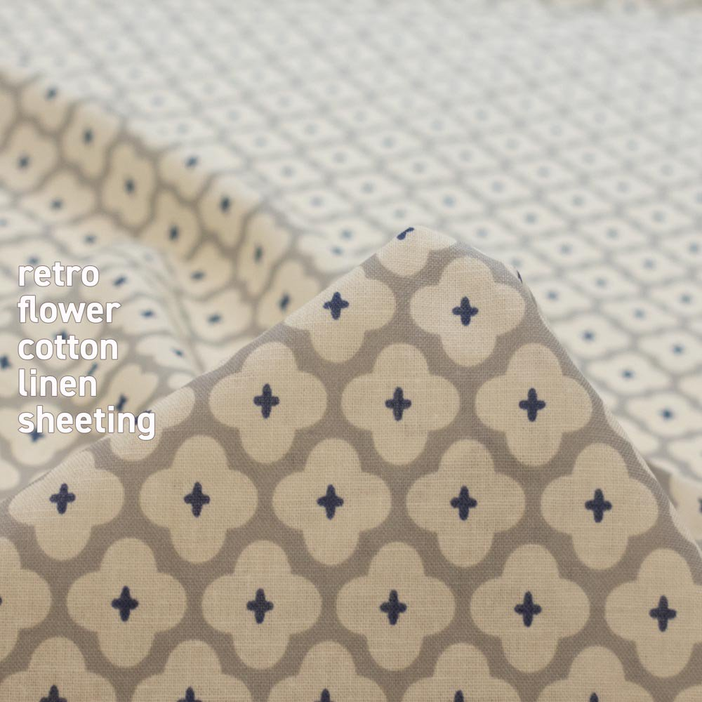 【cotton linen】retro flower-レトロフラワー|コットンリネンシーチング|グレー|<img class='new_mark_img2' src='https://img.shop-pro.jp/img/new/icons5.gif' style='border:none;display:inline;margin:0px;padding:0px;width:auto;' />
