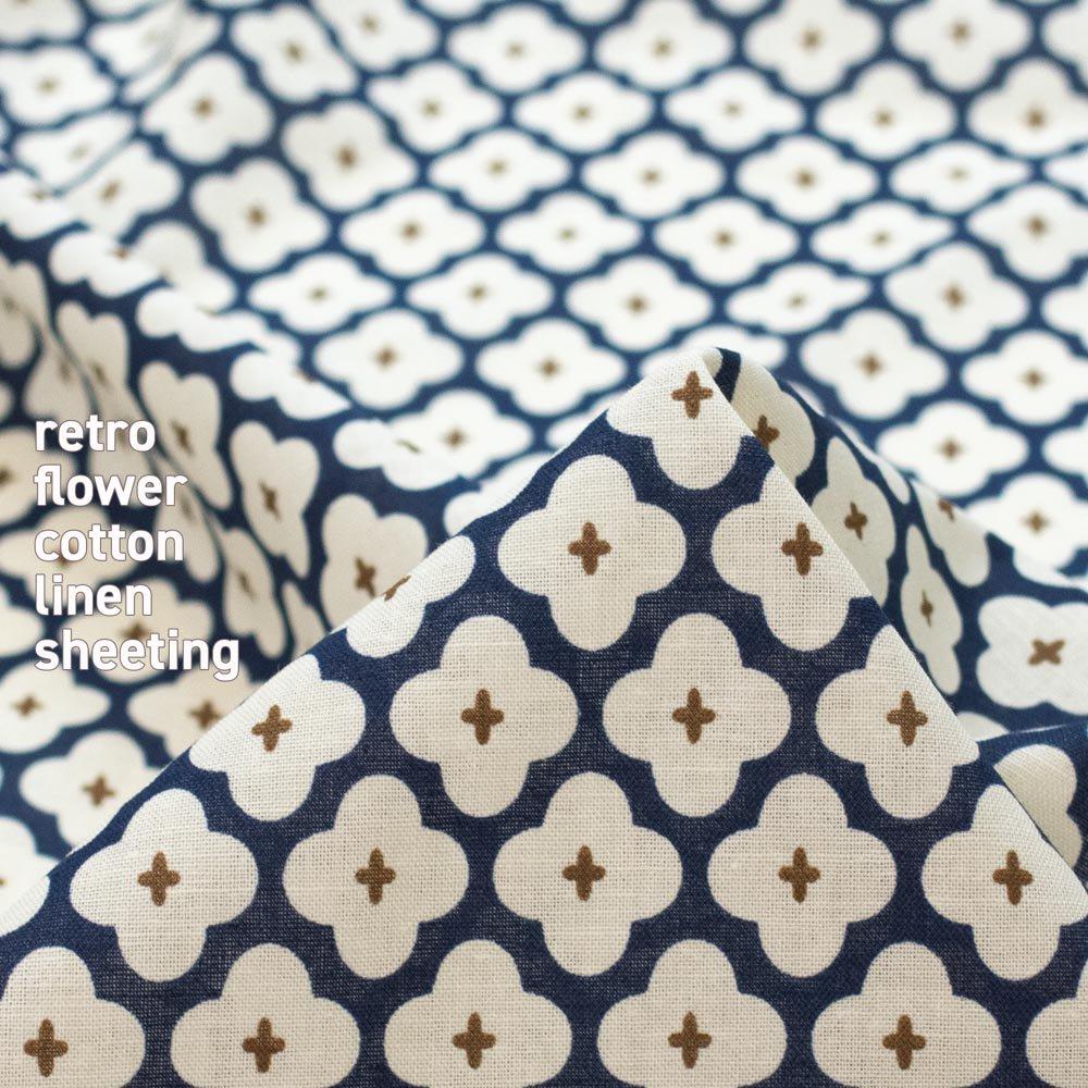 【cotton linen】retro flower-レトロフラワー|コットンリネンシーチング|ネイビー|