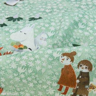 【cotton linen】Moomin fabrics|はらっぱ|コットンリネンシーチング|リーフ|