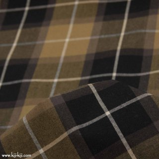 【cotton】秋色の先染めチェック|40/1ハイカウントチェック|アパレル使用|ブラックチェック|