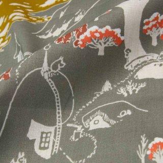【cotton linen】Moomin fabrics|ムーミン谷の冬|コットンリネンシーチング|グレイッシュカーキ|