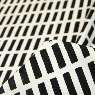 【コットンオックス】北欧風けん盤ストライプ×コットンオックス|オフホワイト×ブラック|