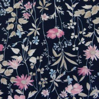 【コットンブロード】  English Garden Flowers|cotton broadcloth|花柄|ネイビー|