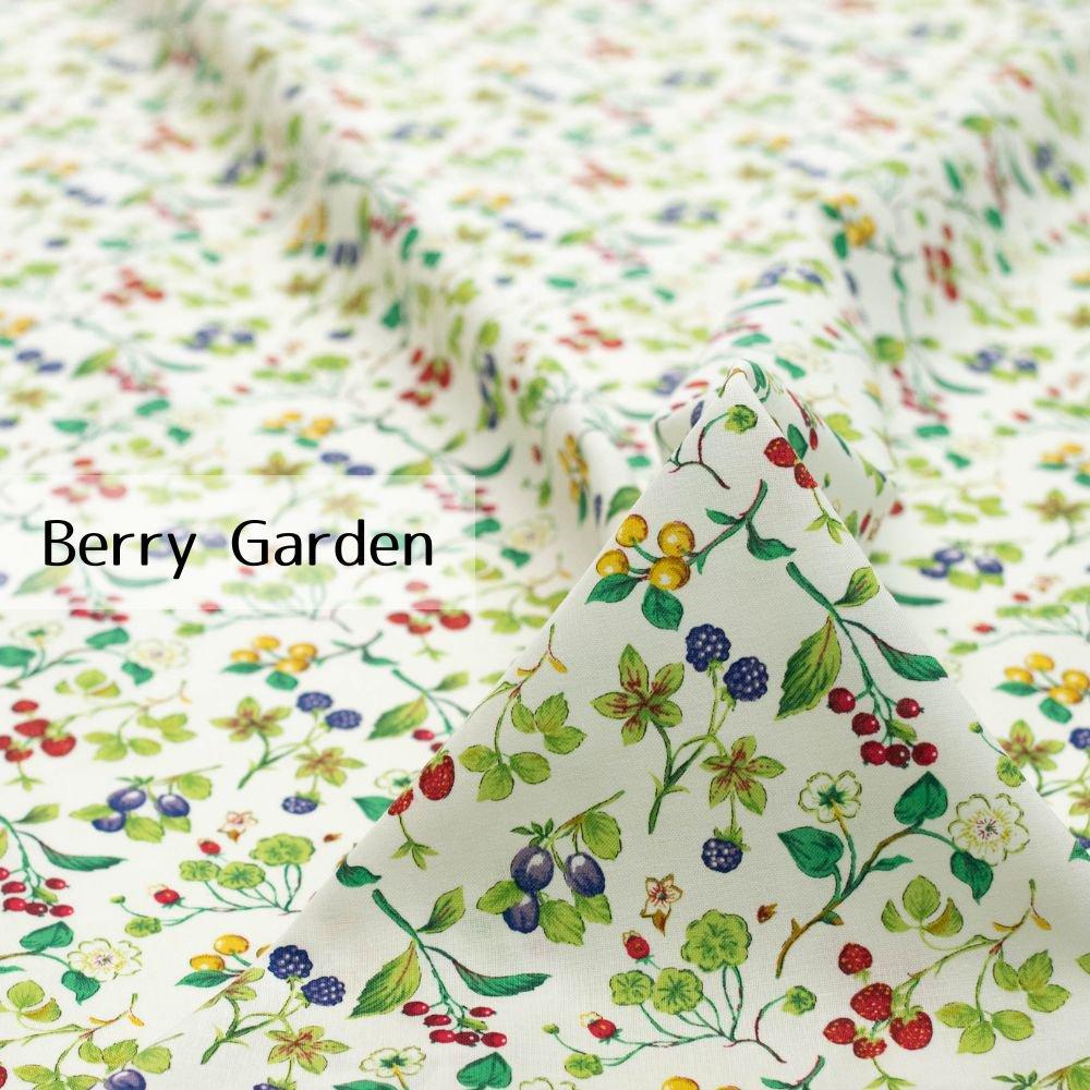 【cotton】Berry Garden|コットンスケア|ベリー柄|イチゴ|ホワイト|