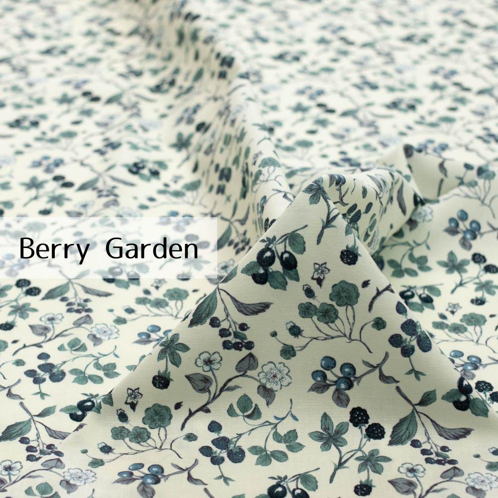 【cotton】Berry Garden|コットンスケア|ベリー柄|イチゴ|ネイビートーン|