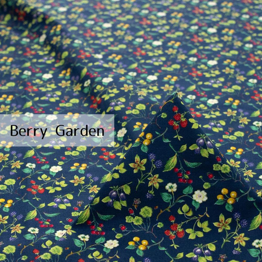 【cotton】Berry Garden|コットンスケア|ベリー柄|イチゴ|ネイビー|