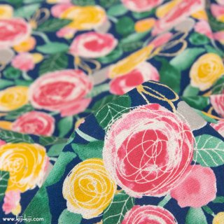 【cotton linen】classical rose garden|クラシカルローズガーデン|コットンリネンシーチング|ネイビー|<img class='new_mark_img2' src='https://img.shop-pro.jp/img/new/icons5.gif' style='border:none;display:inline;margin:0px;padding:0px;width:auto;' />
