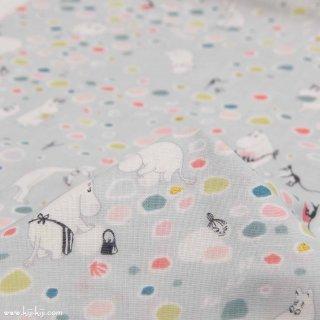 【wg】Moomin fabrics|水辺のたからもの|コットンダブルガーゼ|ライトグレー|