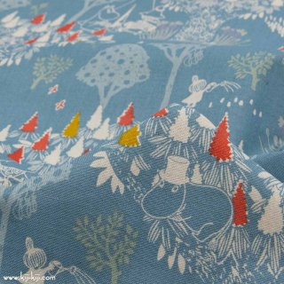 【cotton linen】Moomin fabrics|森のいきもの|コットンリネンキャンバス|ブルーグレー|