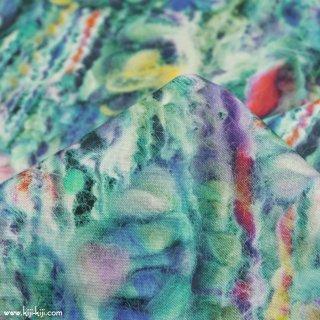 【インクジェットプリント】knitting wool|コットンシーチング|毛糸柄|ブルーターコイズ|