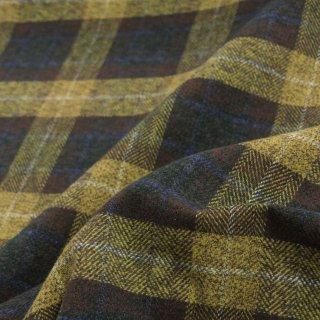 【cotton tweed】コットンで織ったハリスツイード風チェック|コットンツイード|タータンチェック|イエローダークブラウン|