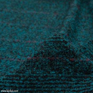 【wool】ふんわりウールループチェック|ループ糸|グレンチェック|グリーンターコイズ|