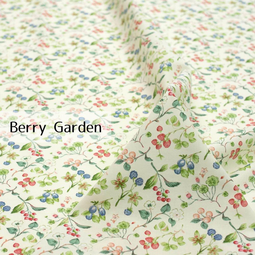 【cotton】Berry Garden|コットンスケア|ベリー柄|イチゴ|ペールトーン|