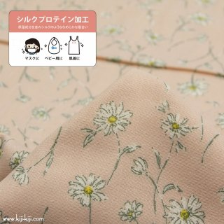 【wg】whisper marguerite|cotton double gauze|コットンダブルガーゼ|マーガレット柄|ペールピンク|