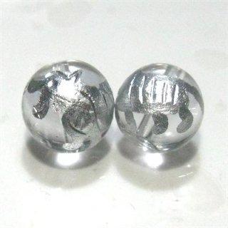 水晶ビーズ神獣彫り(白虎・銀) 10mm【1個】