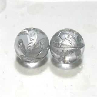 水晶ビーズ神獣彫り(玄武・銀) 10mm【1個】