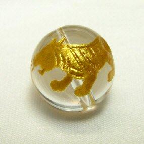 水晶ビーズ神獣彫り(白虎・金) 10mm【1個】
