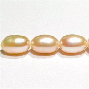 淡水パール (AA++) 淡水真珠ピンク ライス 7〜8X5mm【1個】