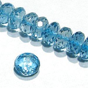 《宝石質》ロンドンブルートパーズ (AAA) ボタンカット5〜6X2.5〜3mm【1個】