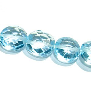 《宝石質》スカイブルートパーズ (AAA) コインカット6X6X3-4mm 【1個】