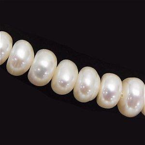淡水パール (淡水真珠) ロンデル6X3mm ホワイト【1個】