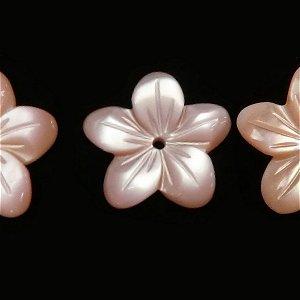 高品質ピンクシェル(AAA)花 フラワー10mm 中央穴 【1個】