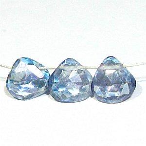 《宝石質》ブルーミスティック トパーズ(AAA) マロン ブリオレットカット 6.5X2.5-3.5mm【2個】