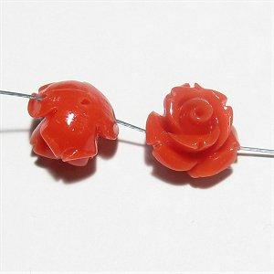 コーラル(珊瑚) 薔薇の花 彫刻 10mm レッド 【1個】
