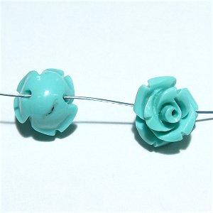 コーラル(珊瑚) 薔薇の花 彫刻 10mm グリーン 【1個】