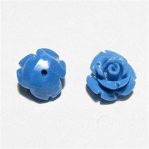 コーラル(珊瑚) 薔薇の花 彫刻 10mm ブルー 【1個】