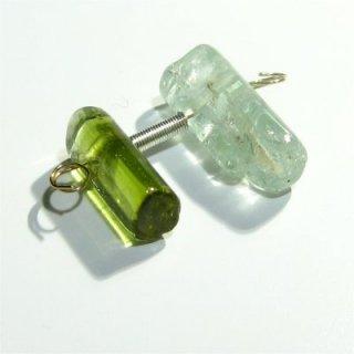 《宝石質》マルチカラートルマリン結晶 (AA++) 横穴チューブ 8.5-10X3.8-4.6mm【2個】
