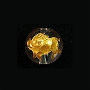 《干支縁起物》水晶彫刻ビーズ『猪(亥年)』金箔10mm 【1個】 《無病息災》