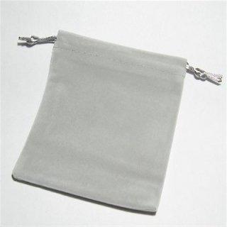高品質 巾着袋 ベロアポーチ(シルバーグレー) ブレスレットポーチ 105X120mm