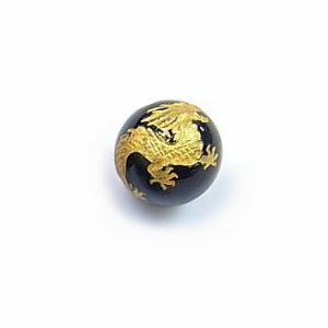 《干支縁起物》オニキス彫刻ビーズ『たつ(辰年)』金入り10mm 【1個】 《瑞祥・信用を得る》