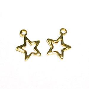 金属チャーム ☆星(スター) ゴールドカラー 7.8X6.3mm 【2個】