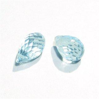 《宝石質》 スカイブルートパーズ(AAA-) ドロップ ブリオレットカット8-10X5mm 【2個】 《自信を与え活力を取り戻す石》