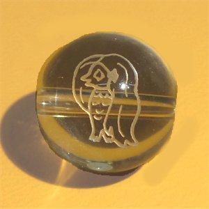 《風水縁起物》 水晶彫刻ビーズ 『アマビエ』 素彫り12mm (限定品) 【1個】 《疫病退散・護符》