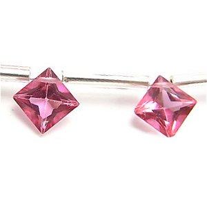 《宝石質》 ピンクトパーズ(AAA) ダイヤ プリンセスカット8X8mm 【1個】 《持つ人の魅力を引き出す石》