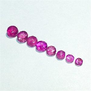 【OUTLET】 宝石質ピンクトルマリン ボタンカット(サイズグラデーション)  【8個】 《50%OFF》