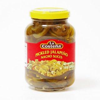 ハラペーニョ 唐辛子の酢漬け(スライス)220g Pickled Jalapeno Nacho Slices [La Costena]|メキシコ料理食材