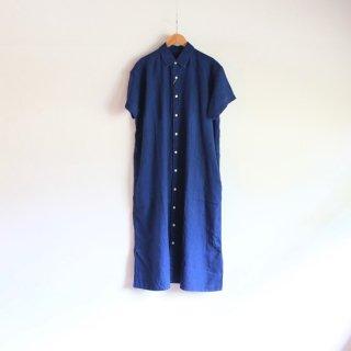 UNIVERSAL TISSU_インディゴリネン シャツドレス