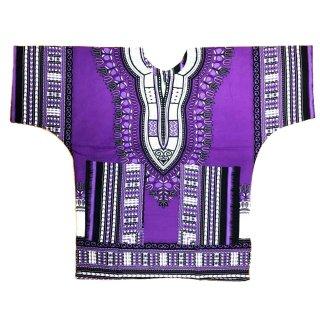 ≪前払いのみ・ネコポス発送可≫パープル 男女兼用 ダシキ Dashiki 半袖シャツ アフリカ アフリカン 民族衣装  ヒッピー hiphop