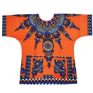 ≪前払いのみ・ネコポス発送可≫オレンジ 男女兼用 ダシキ Dashiki 半袖シャツ アフリカ アフリカン 民族衣装  ヒッピー hiphop